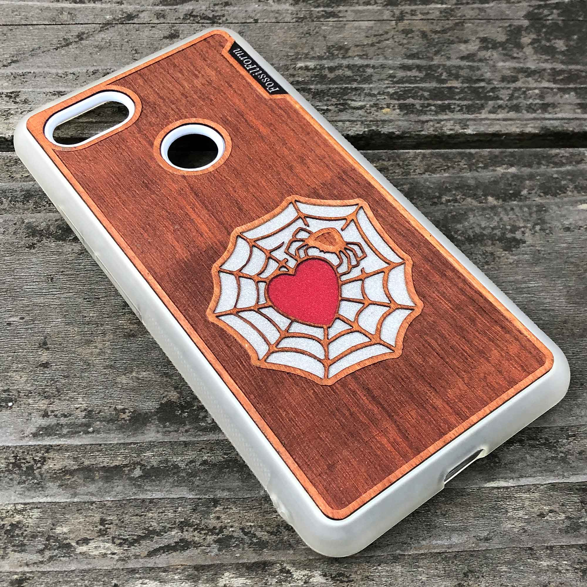 Spider and Heart - Engraved Wood & Resin Case - White