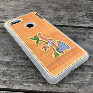 Axe & Plant - Engraved Wood & Resin Case - White