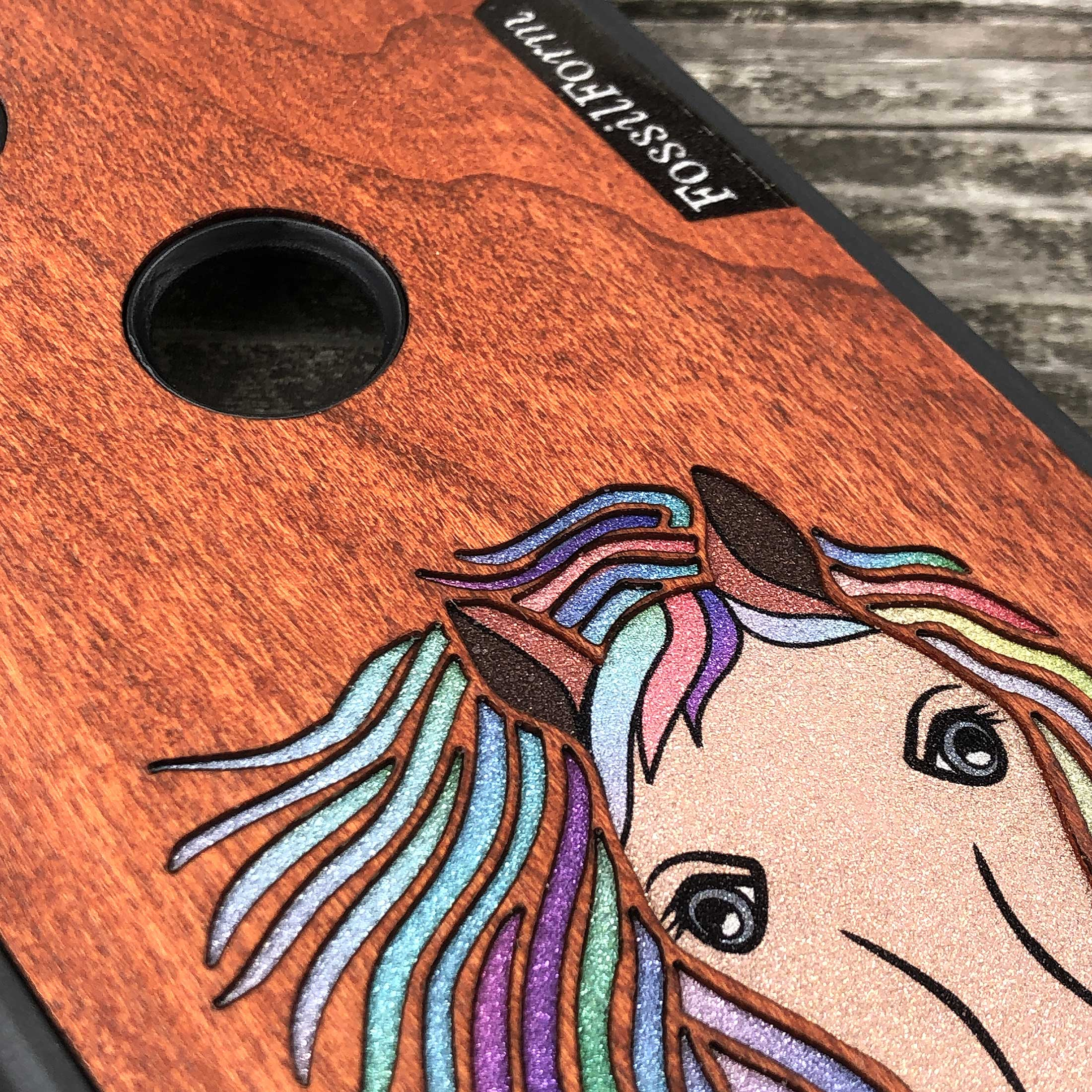 Horse - Wood & Resin Case - Black
