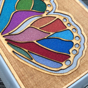 Butterfly Wing - Engraved Wood & Resin Case - White