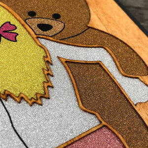 Girl and Teddy bear - Wood & Resin Case - Black