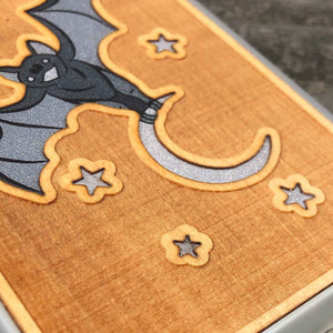 Bat and the Moon - Engraved Wood & Resin Case - White