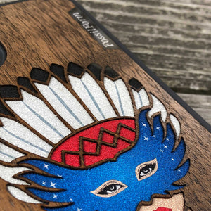 Girl With Native American Feather Headdress - Wood & Resin Case - Black