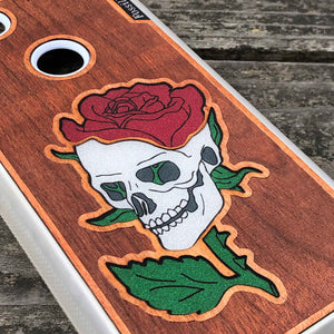 Skull and Rose - Engraved Wood & Resin Case - White
