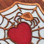 Load image into Gallery viewer, Spider and Heart - Engraved Wood & Resin Case - White