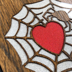 Spider and Heart - Wood & Resin Case - Black