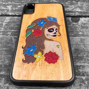 Day of the Dead Girl - Wood & Resin Case - Black