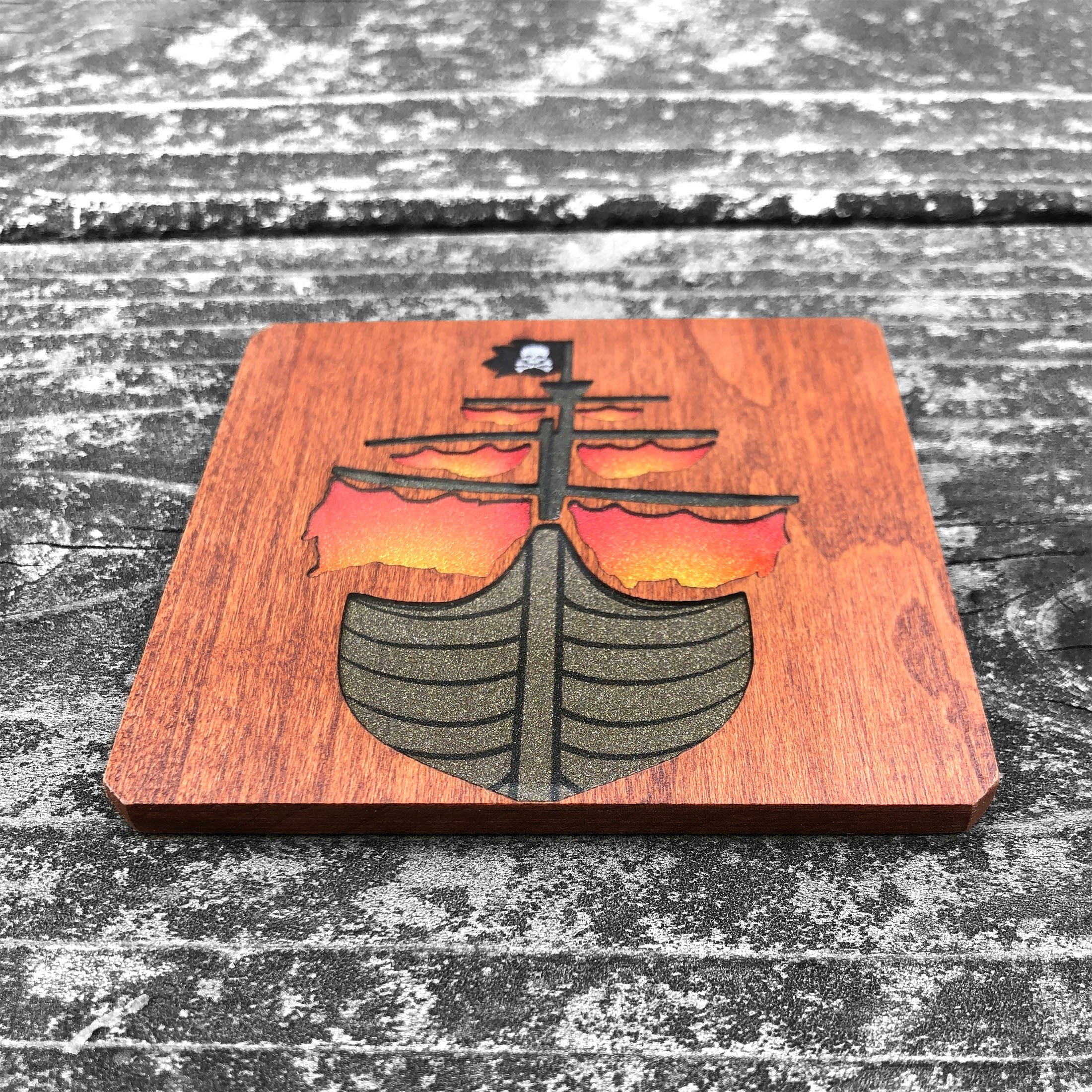 Pirate Ship - FossilForm drink coaster