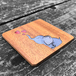 Load image into Gallery viewer, Baby Elephant & Hearts - FossilForm drink coaster