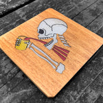 Load image into Gallery viewer, Drinking Skeleton - FossilForm drink coaster