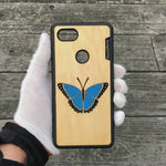Load and play video in Gallery viewer, Blue Butterfly - Wood & Resin Case - Black