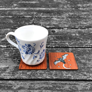 Bat and the Moon - FossilForm drink coaster