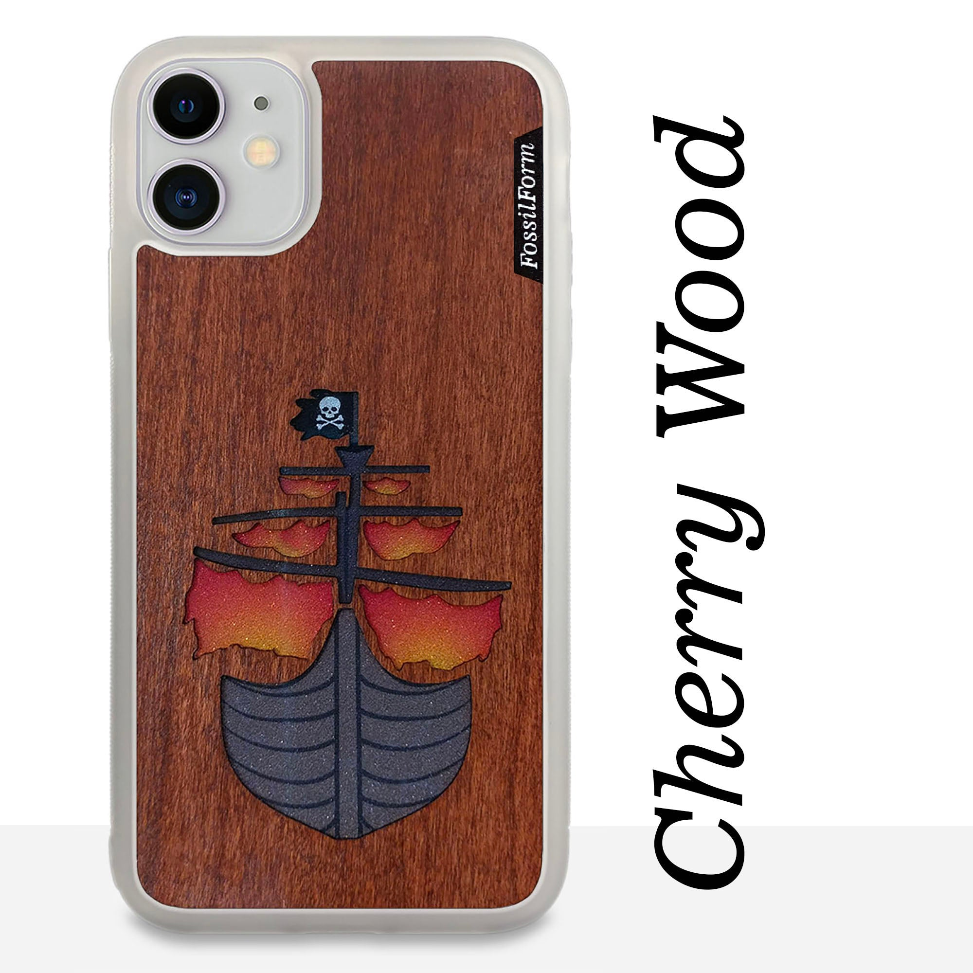 Pirate Ship - Wood & Resin Case - White