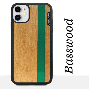 Green Stripe - Green Vertical Line - Wood & Resin Case - Black