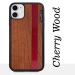 Load image into Gallery viewer, Red Stripe - Red Vertical Line - Wood & Resin Case - Black