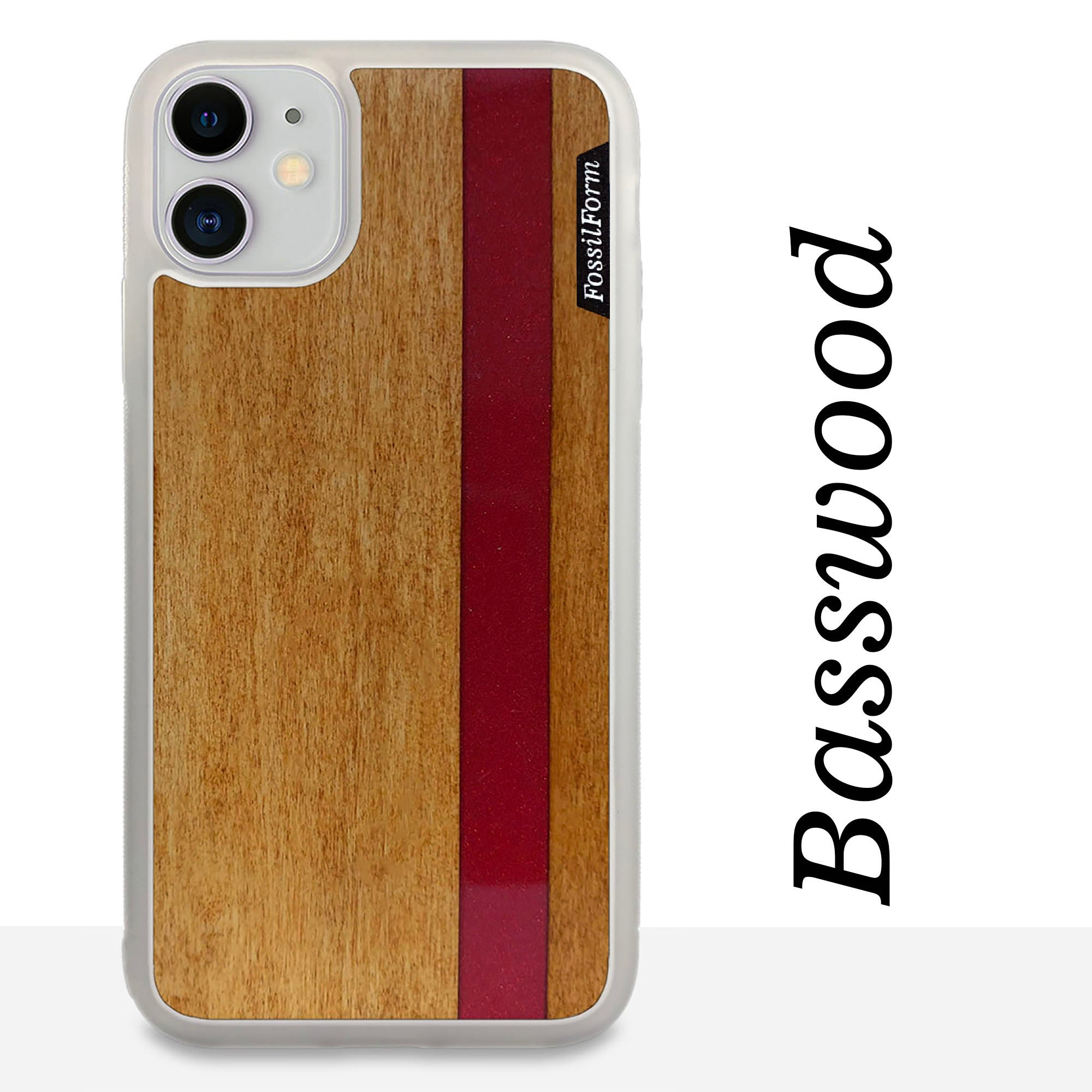 Red Stripe - Red Vertical Line - Wood & Resin Case - White