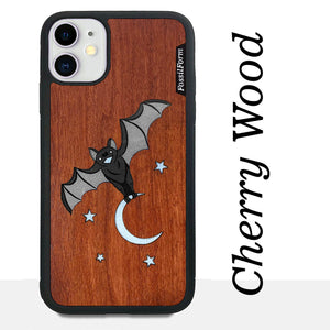 Bat and the Moon - Wood & Resin Case - Black