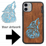 Load image into Gallery viewer, Custom-Made Wood + Resin + Glitter Phone Case - Black