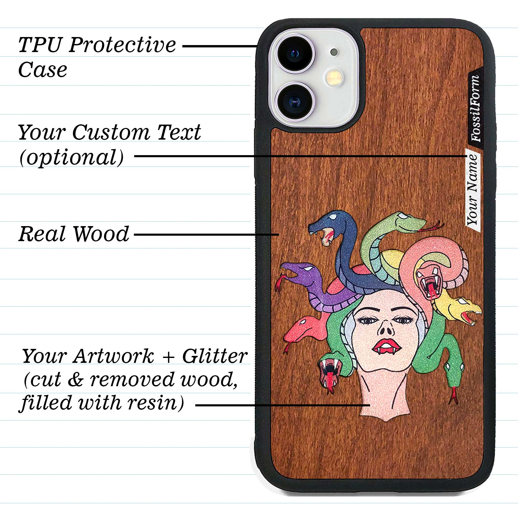 Custom-Made Wood + Resin + Glitter Phone Case - Black