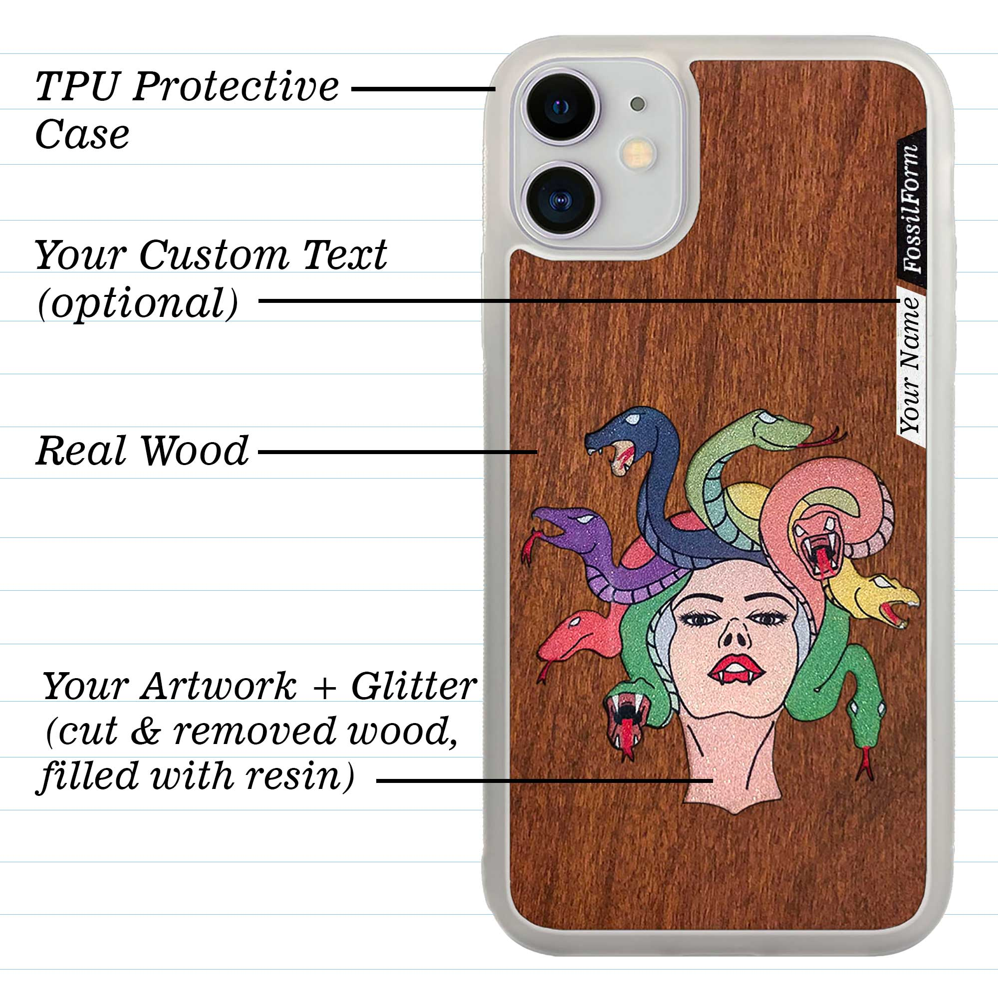 Custom-Made Wood + Resin + Glitter Phone Case - White