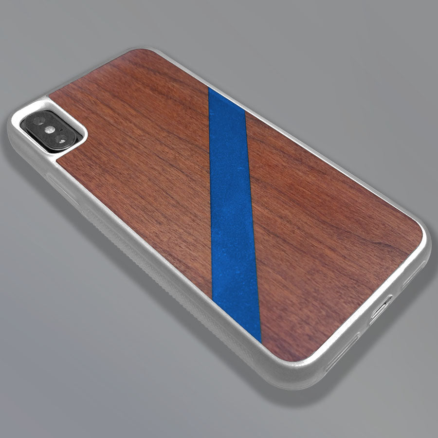 Blue Diagonal Stripe - Wood & Resin Case - White