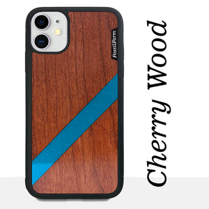 Blue Diagonal Stripe - Wood & Resin Case - Black