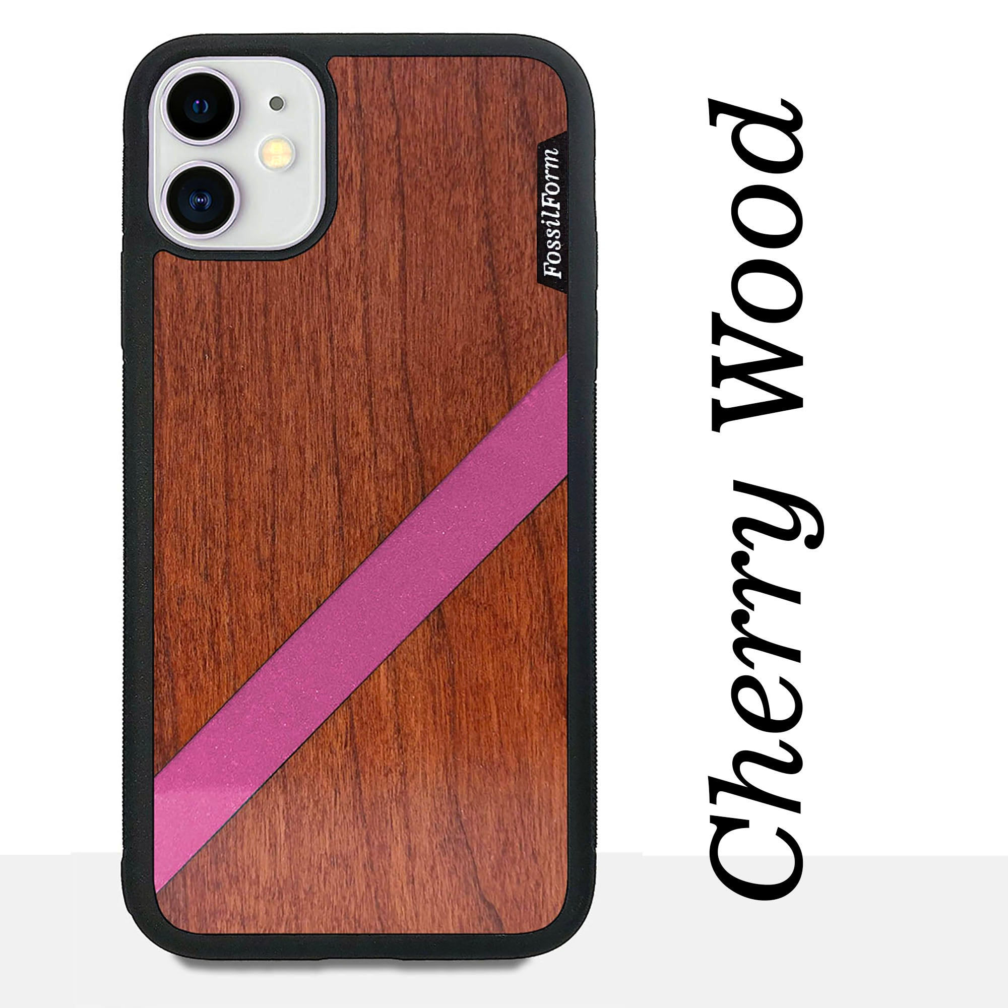 Pink Diagonal Stripe - Wood & Resin Case - Black
