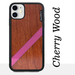 Load image into Gallery viewer, Pink Diagonal Stripe - Wood & Resin Case - Black