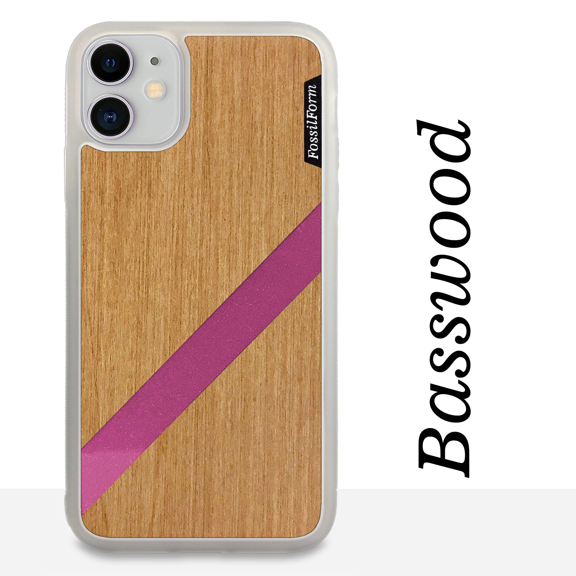 Pink Diagonal Stripe - Wood & Resin Case - White