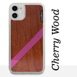 Load image into Gallery viewer, Pink Diagonal Stripe - Wood & Resin Case - White