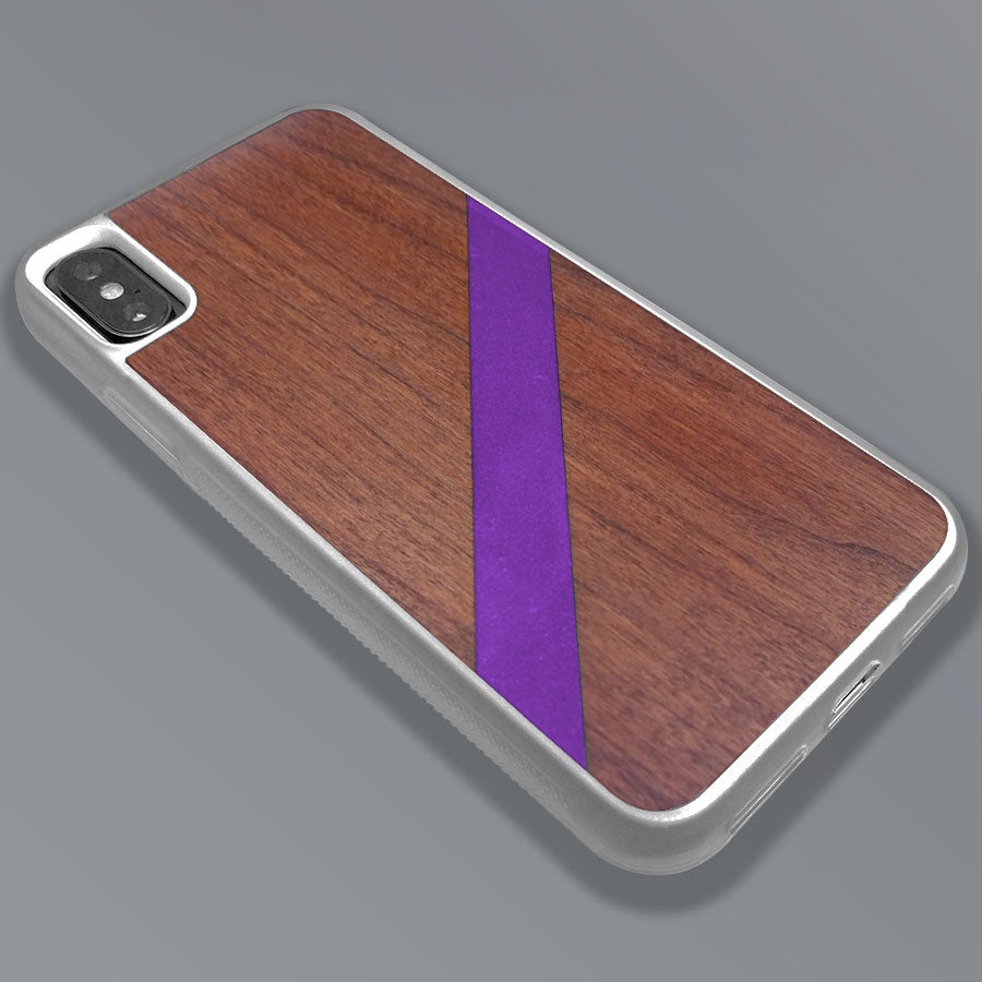 Purple Diagonal Stripe - Wood & Resin Case - White