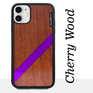 Purple Diagonal Stripe - Wood & Resin Case - Black