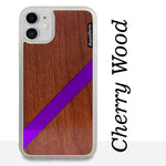 Load image into Gallery viewer, Purple Diagonal Stripe - Wood & Resin Case - White