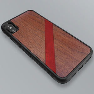 Red Diagonal Stripe - Wood & Resin Case - Black