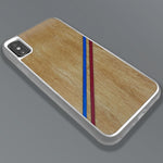 Load image into Gallery viewer, Blue & Red Double Diagonal Stripes - Wood & Resin Case - White