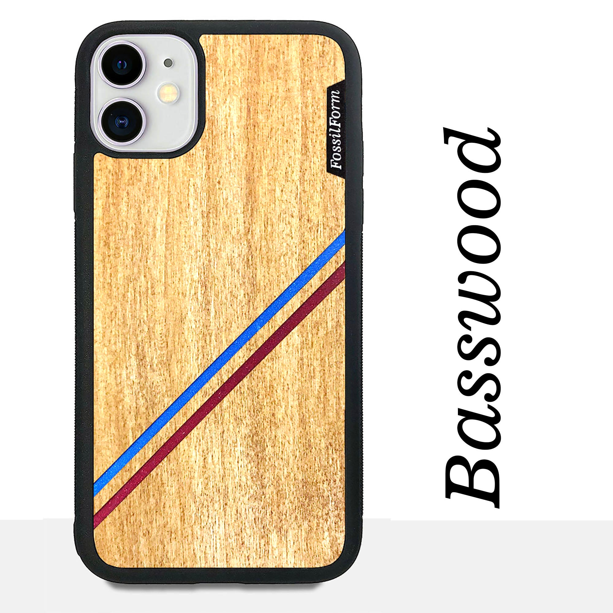 Blue & Red Double Diagonal Stripes - Wood & Resin Case - Black