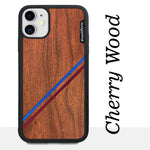 Load image into Gallery viewer, Blue & Red Double Diagonal Stripes - Wood & Resin Case - Black