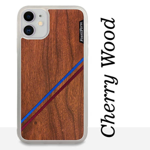 Blue & Red Double Diagonal Stripes - Wood & Resin Case - White