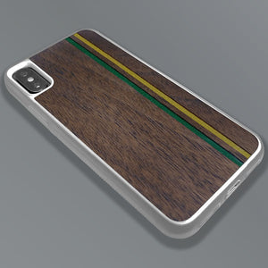 Green & Gold Double Stripes - Wood & Resin Case - White