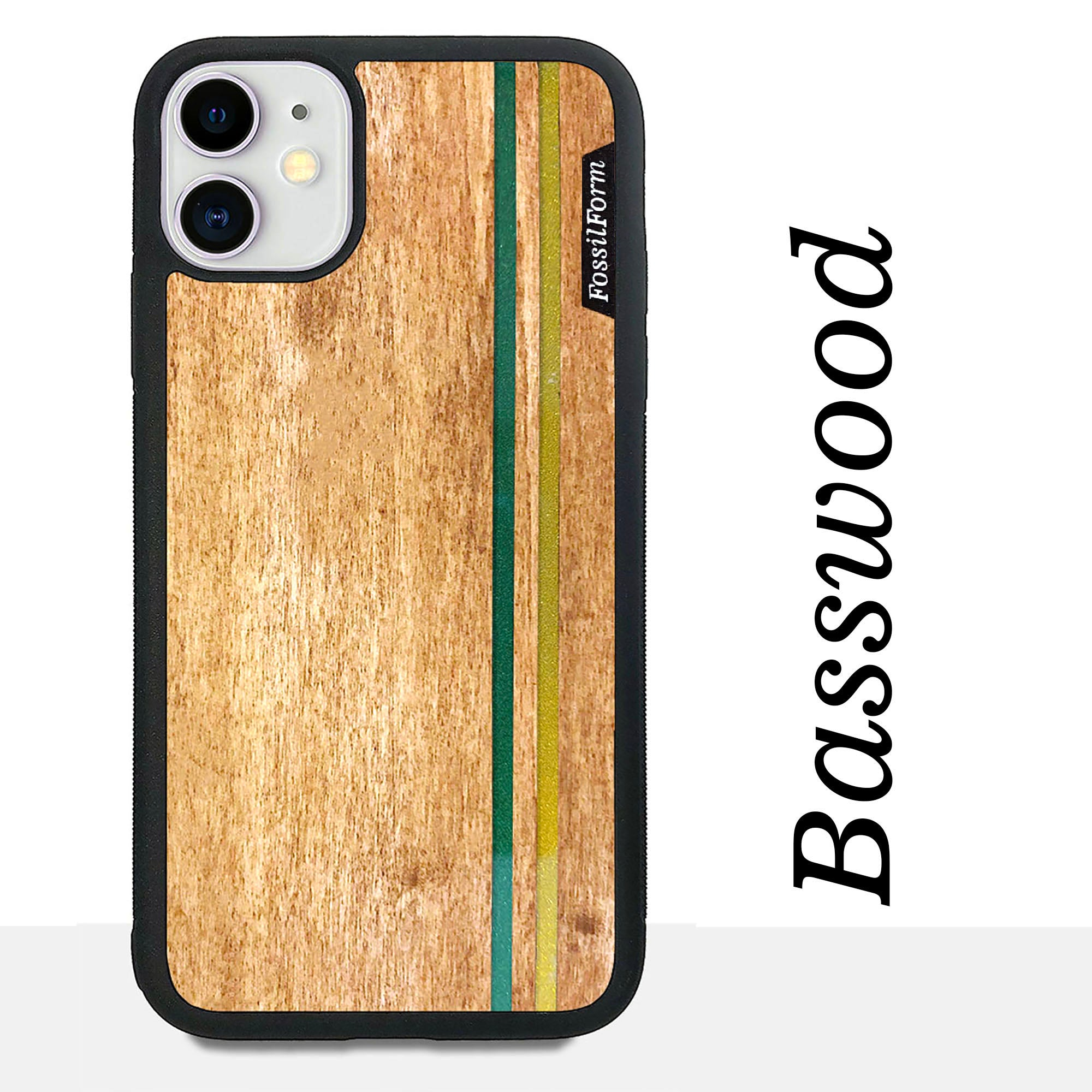Green & Gold Double Stripes - Wood & Resin Case - Black