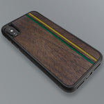 Load image into Gallery viewer, Green & Gold Double Stripes - Wood & Resin Case - Black