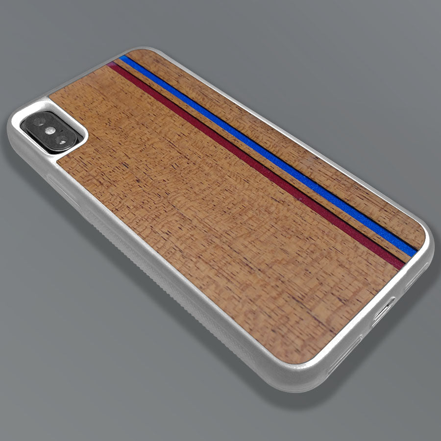 Blue & Red Double Stripes - Wood & Resin Case - White