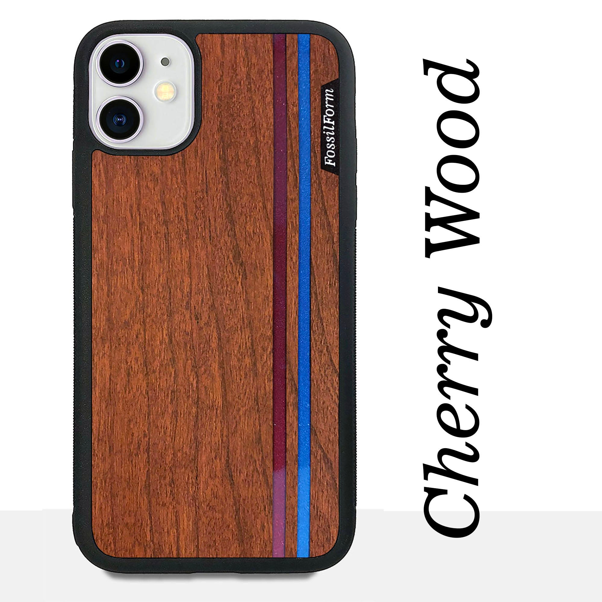 Blue & Red Double Stripes - Wood & Resin Case - Black