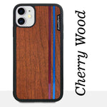 Load image into Gallery viewer, Blue & Red Double Stripes - Wood & Resin Case - Black