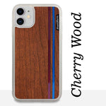 Load image into Gallery viewer, Blue & Red Double Stripes - Wood & Resin Case - White