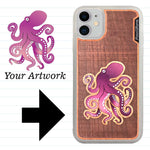 Load image into Gallery viewer, Custom-Made Engraved Wood + Resin + Glitter Phone Case - White