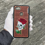 Load and play video in Gallery viewer, Skull and Rose - Engraved Wood & Resin Case - Black