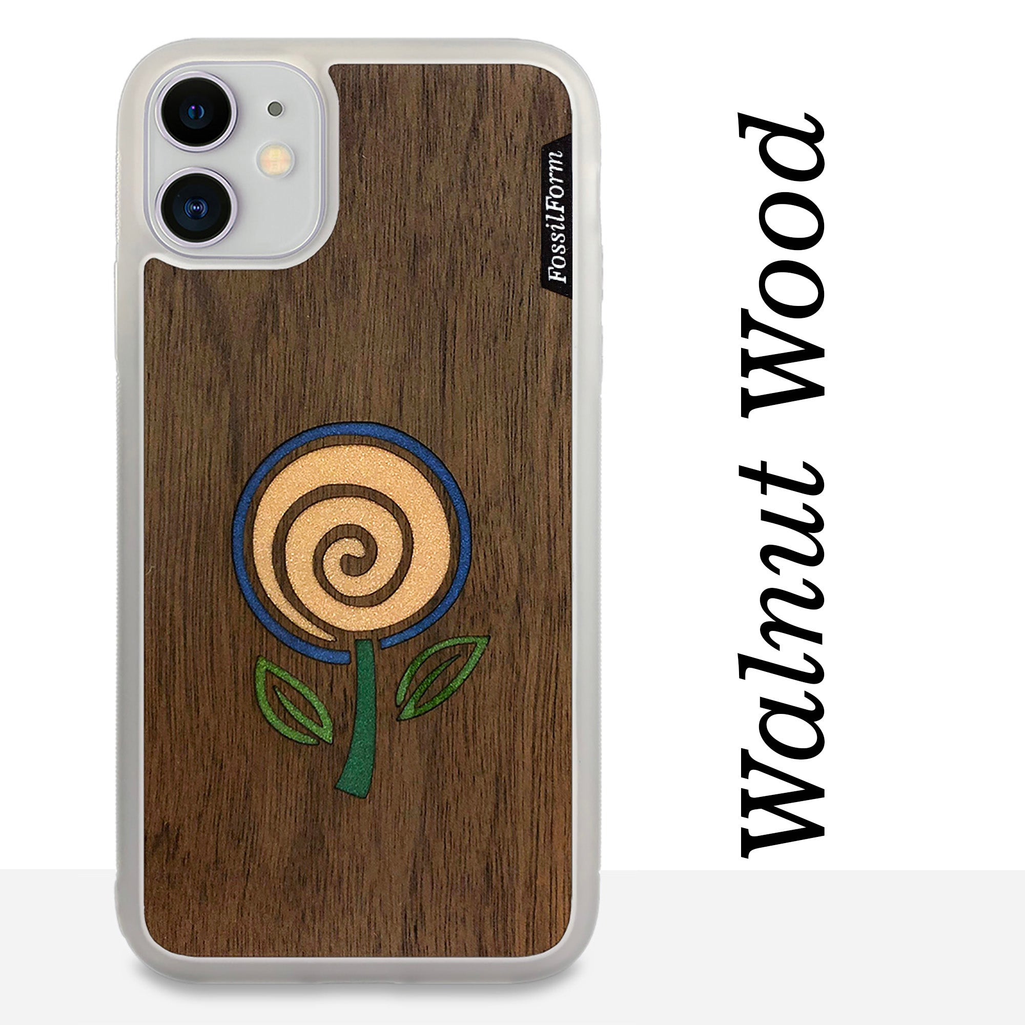 Minimalist Flower - Wood & Resin Case - White