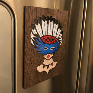 Girl With Native American Feather Headdress Fridge Magnet