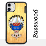 Load image into Gallery viewer, Girl With Native American Feather Headdress - Wood & Resin Case - Black